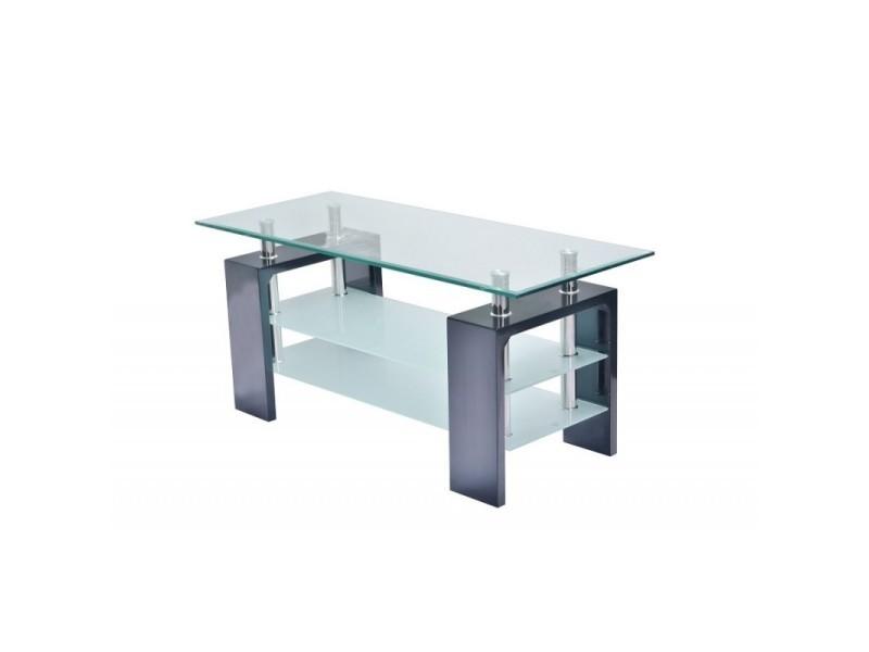 Table Basse Siena Rectangulaire Design Plateau En Verre Et Doubles