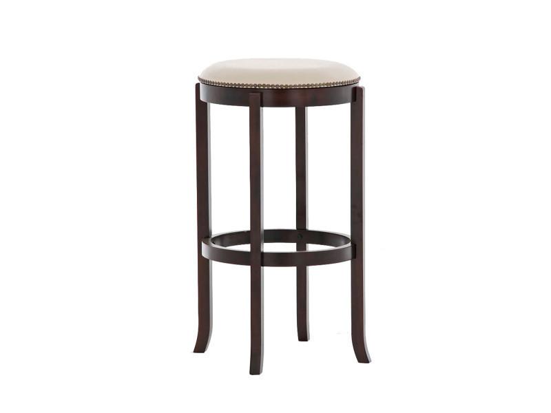 Tabouret en bois coloris cappuccino / crème - 79 x 43.5 x 43.5 cm -pegane-