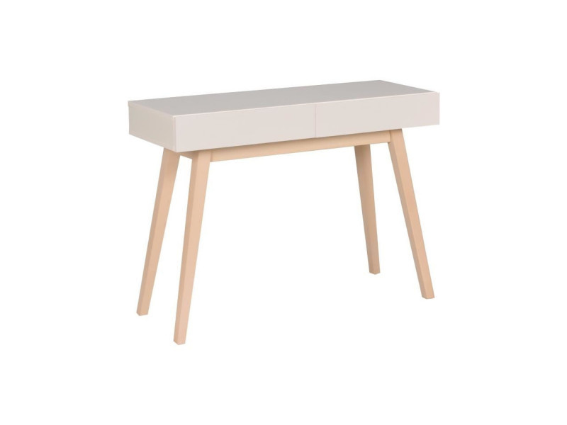 Home console 2 tiroirs - laquée blanc - l 100 cm