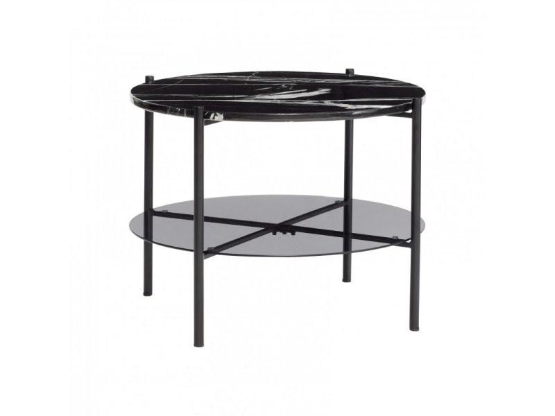 Table basse ronde marbre et métal marbila 20805