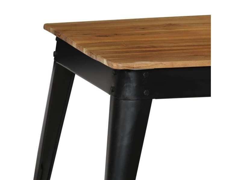 Vidaxl table de salle à manger bois d'acacia et acier 75x75x76 cm 246296