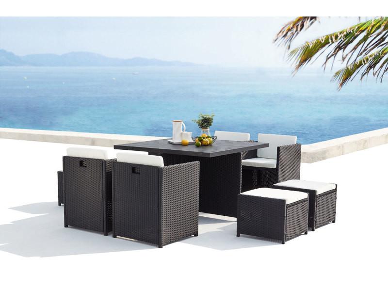 Sunset 8 : salon de jardin encastrable 8 places en résine tressée et aluminium noir/blanc