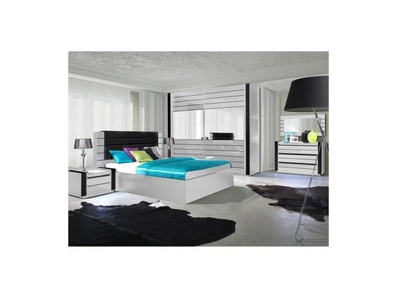 Ensemble design pour chambre à coucher lina blanc. Lit + 2 chevets ...