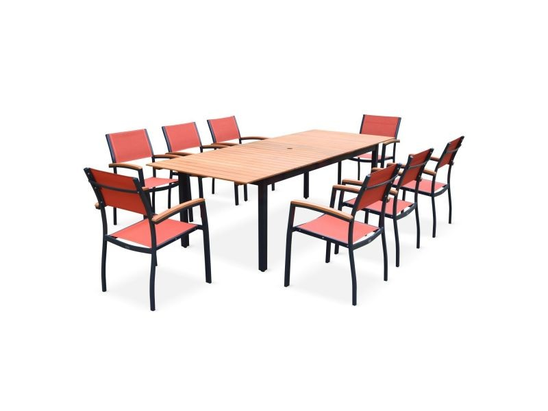 Salon de jardin en bois et aluminium sevilla, grande table 200-250cm ...