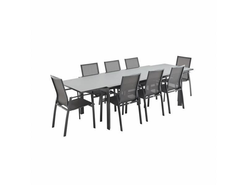 Salon de jardin table extensible - washington gris foncé - table en ...