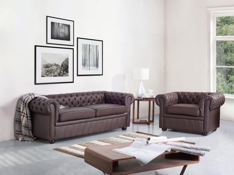 Ensemble canapé et fauteuil en cuir marron 4 places chesterfield 203267