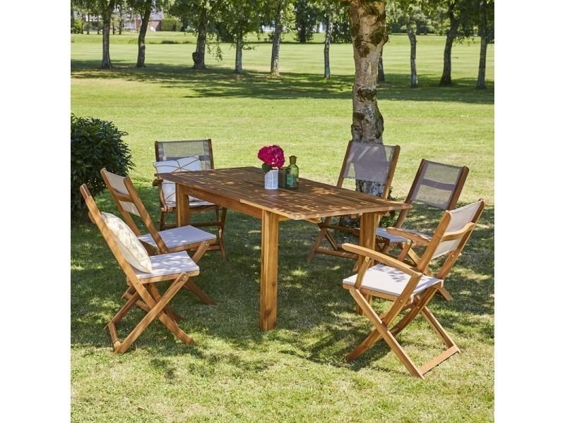 Salon de jardin en bois d\'acacia fsc extensible 6 à 8 places - Vente de ...