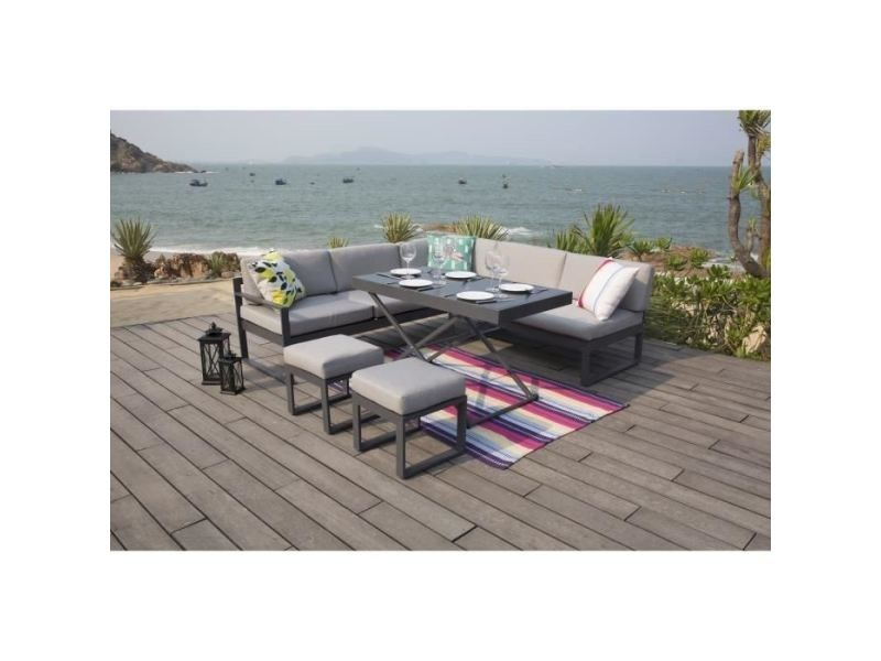 Salon de jardin - ensemble table chaise fauteuil de jardin hipu ...