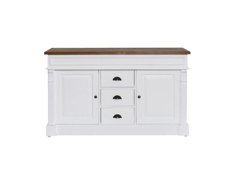 Meuble salle de bain bois massif blanc et ciré 2 vasques, 2 portes ...