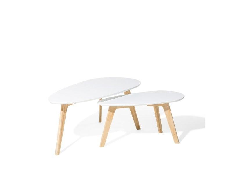 Lot de 2 tables d`appoint blanc fly ii 47743