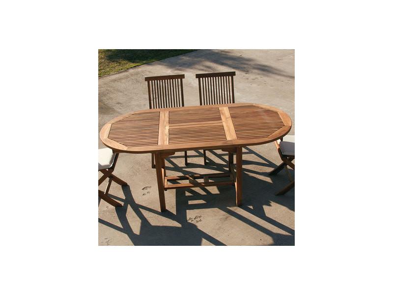 Table de jardin ovale en bois extensible liseron - Vente de ...