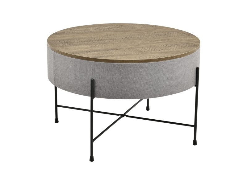 Table basse ronde avec plateau amovible panneaux de particules textile métal 40 x 60 cm bois gris noir helloshop26 03_0004151