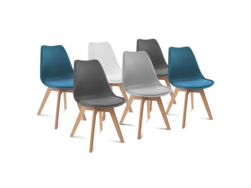 Lot de 6 chaises sara mix color blanc, gris clair, bleu