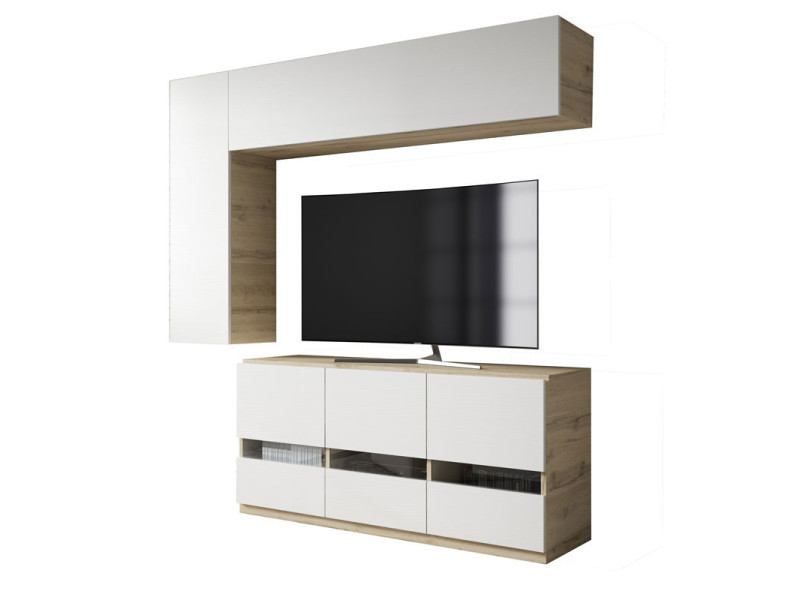 Composition meuble tv bois blanc/chêne blond - camelia - l 170 x l 45 x h 190 - neuf