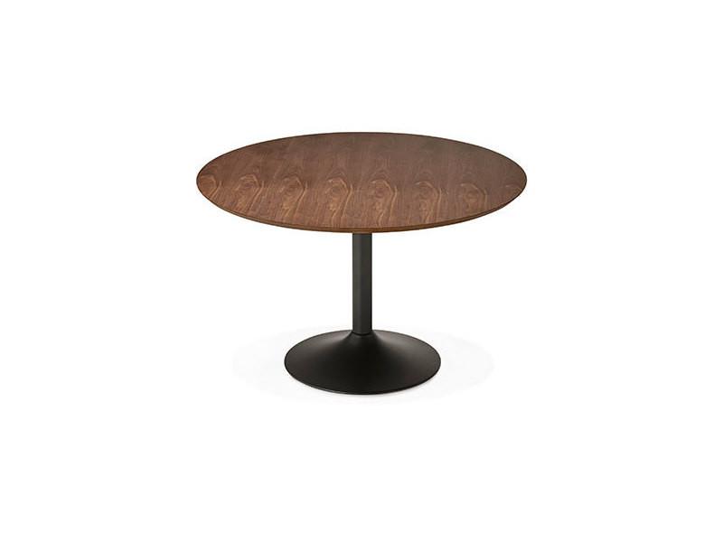 Table à manger 120cm bois foncé et métal noir - letak