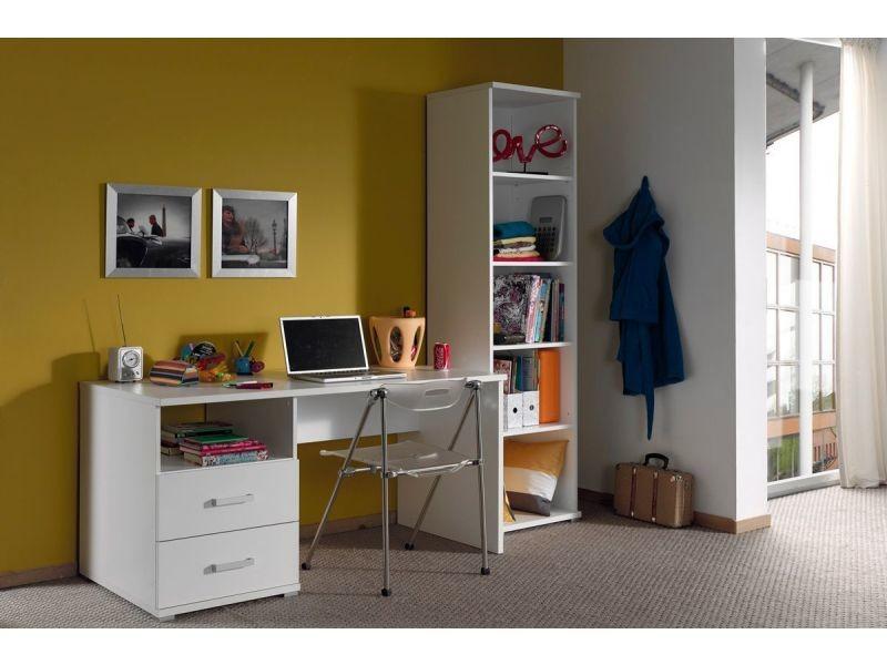 Ensemble bureau et bibliothèque moderne coloris blanc p-21567-co c-whinham - Vente de COMFORIUM ...