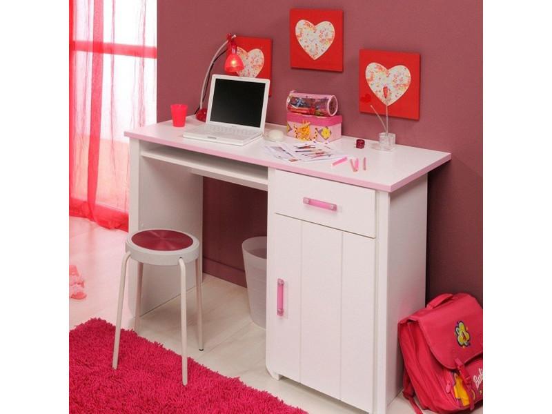 Bureau blanc et rose pour chambre fille l 121 x h 77 x p 65 cm