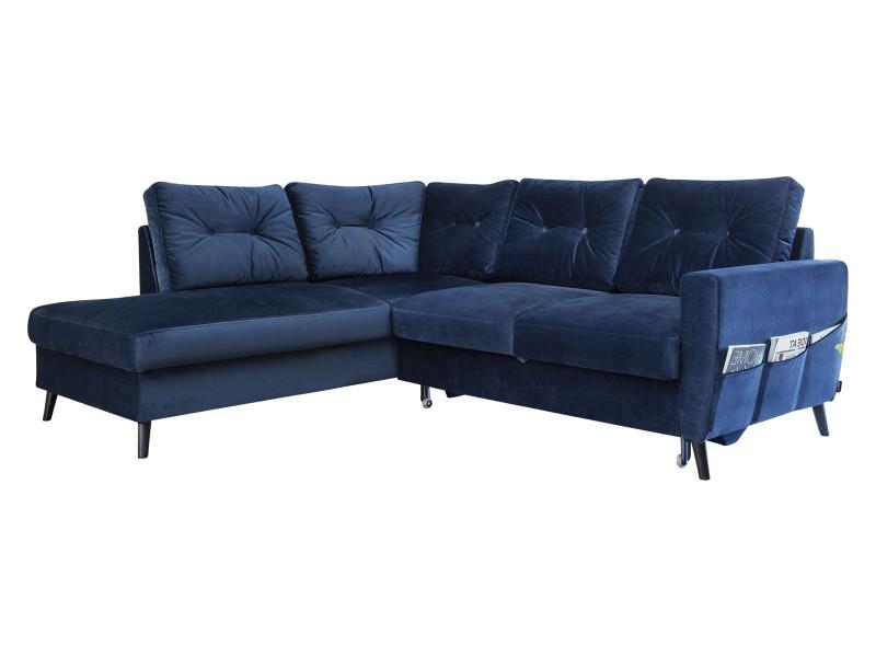 Canapé d'angle convertible velours l scandi bleu marine angle gauche