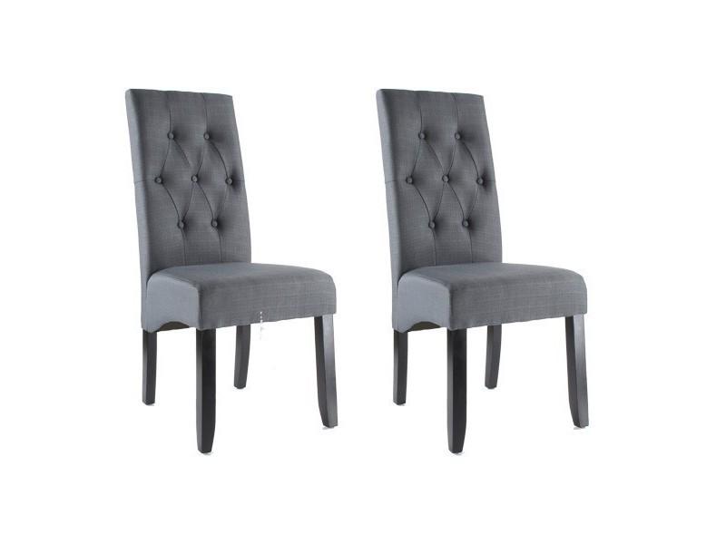 a de 2 chaises tissu Lot gris salle de de manger en Lot 2 DIH2E9