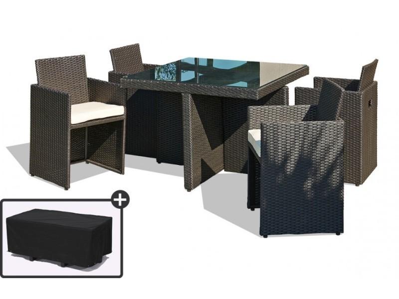 Table de jardin avec 4 fauteuils encastrables noirs et une housse de ...