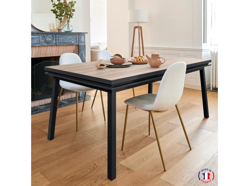 Table extensible bois massif 160x90 cm chêne et laque noire mat - 100% fabrication française
