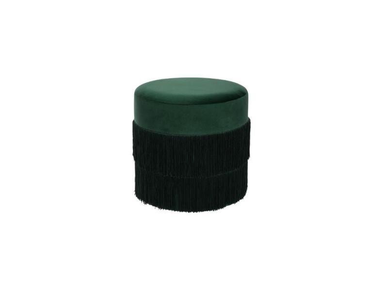 Pouf à franges en tissu de velours - d 40 x h 40 cm - vert