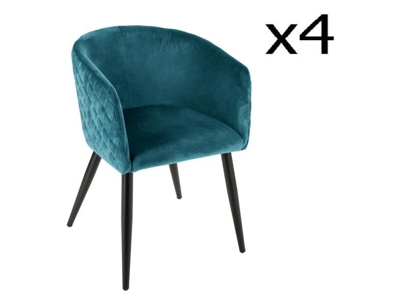 Lot de 4 fauteuils de dîner bleu canard en velours - h. 76 cm -pegane-