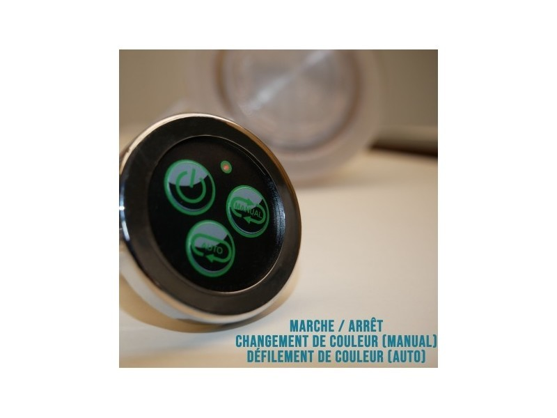 Spot étanche encastrable 110mm ø rgb ip68 + bouton de contrôle et ...