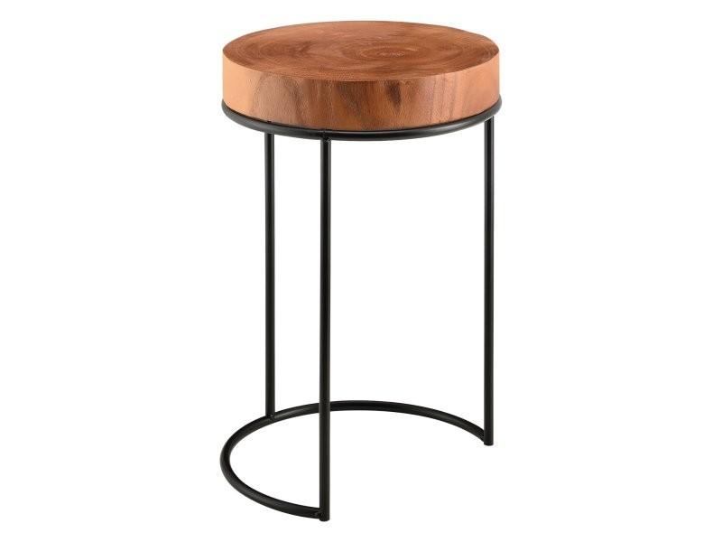 Table basse ronde salon plateau tronc d'arbre 45 x 28 cm bois massif métal noir helloshop26 03_0006178