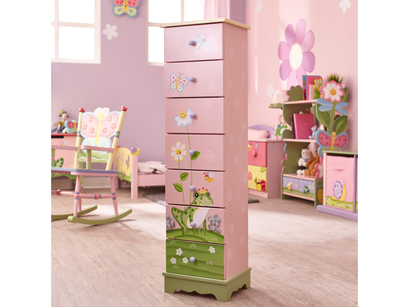 Commode rangement enfant magic garden bois 7 tiroirs chambre fille ...