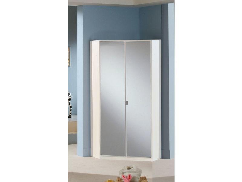 Armoire d\'angle 95x198 cm à 2 portes avec miroir coloris ...