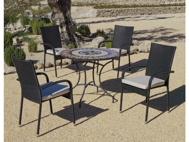 Salon de jardin table ronde mosaïque cambel ampuria - Vente ...