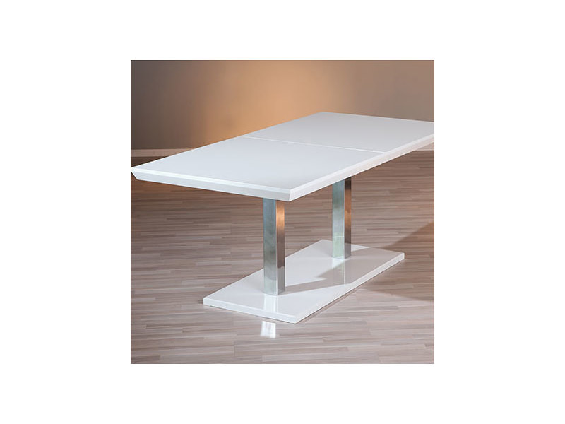 Table à manger extensible 160/200x75x90 cm laqué blanc