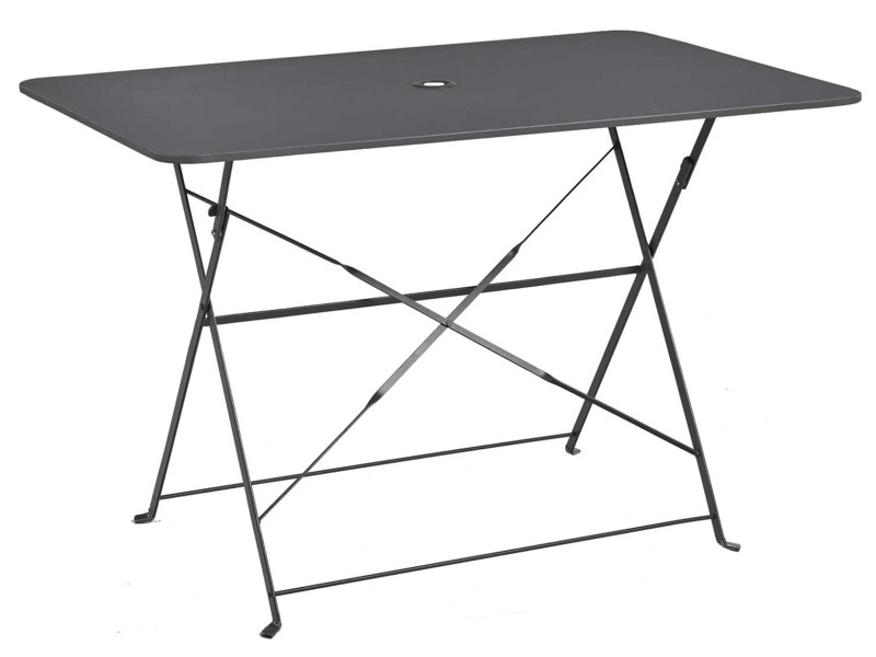 Table pliante rectangulaire en métal coloris anthracite - dim : 110 x 70 x 70cm -pegane-