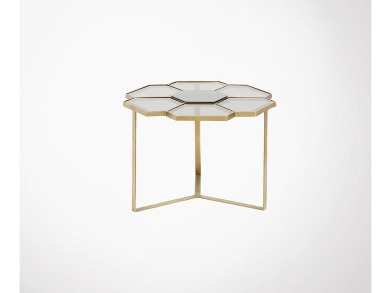 Table basse laiton verre 60cm fleurs - nordal 18990