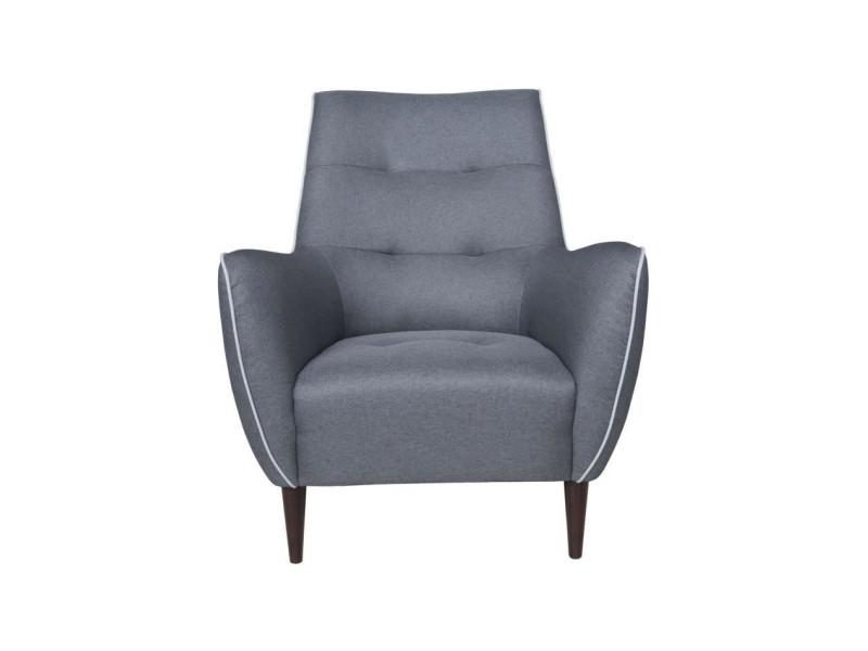 Jarl fauteuil - tissu anthracite - passepoil et coussin gris clair - l 84 x p 77 x h 94 cm