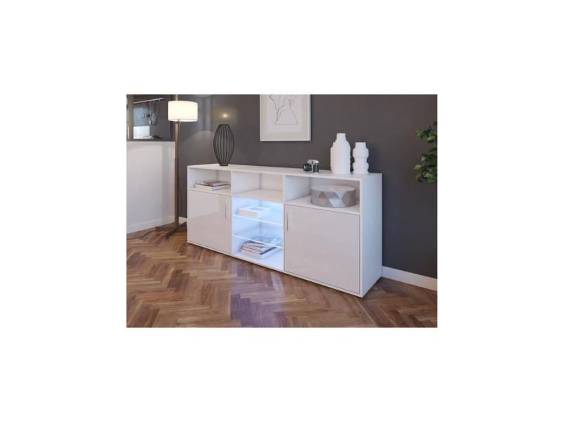 Kora buffet bas avec led contemporain blanc brillant et mat - l 180 cm 202B18078