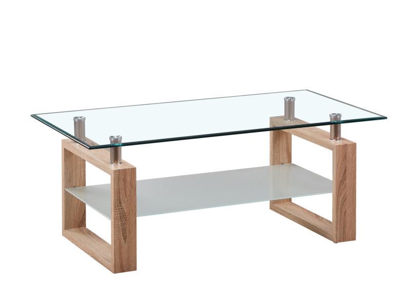 Table basse design verre et bois coloris chêne andora
