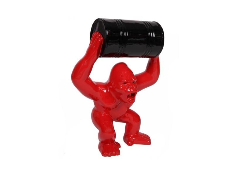 Statue en résine Donkey Kong gorille singe avec tonneau Mario 70 cm