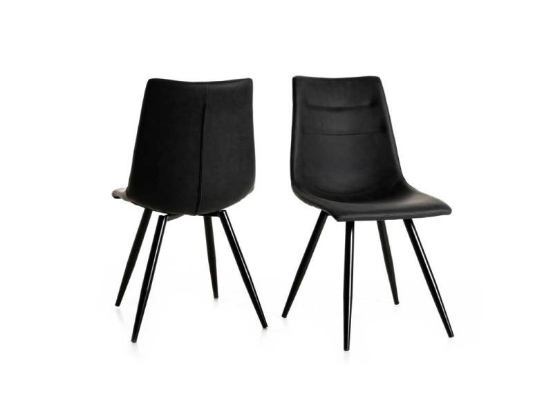 Duo de chaises simili cuirmétal noir ostende l 42 x l