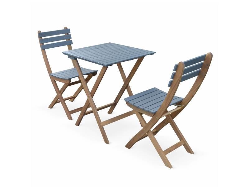 Table de jardin bistrot 60x60cm - barcelona bois / bleu grisé ...