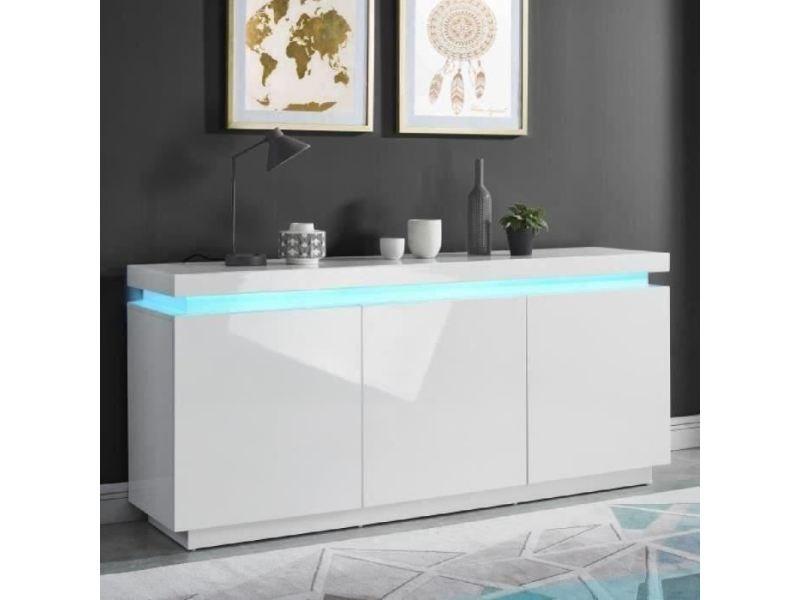 Buffet - bahut - enfilade odyssee buffet bas led contemporain blanc laqué brillant - l 170 cm