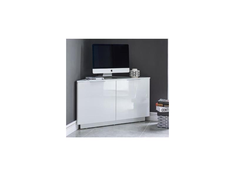 design intemporel f6e73 69b0e Swan meuble tv d'angle contemporain laqué blanc brillant - l ...