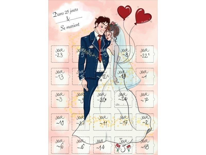 Calendrier Avant Mariage.Calendrier Compte A Rebours Avant Le Mariage 25 Jours