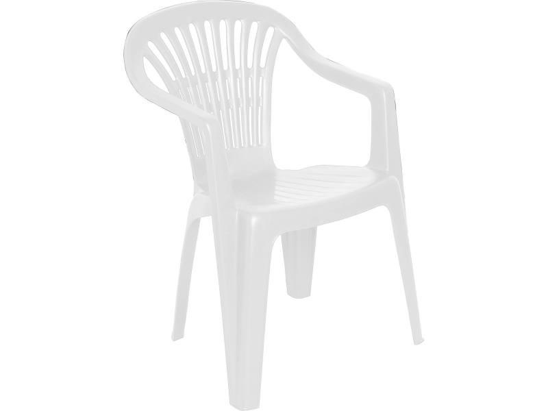 Chaise d'extérieur empilable monobloc, dossier bas, 54 x 53 x 80 cm, made in italy, coloris blanc 8052773495592