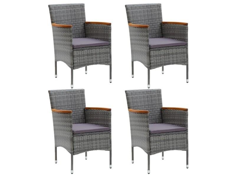 Vidaxl chaises de salle à manger de jardin 4 pcs résine tressée gris 310567