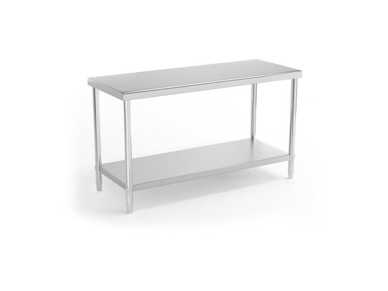 Table de travail cuisine professionnelle acier inox 150 x 60 cm capacité de charge de 230 kg helloshop26 14_0003659