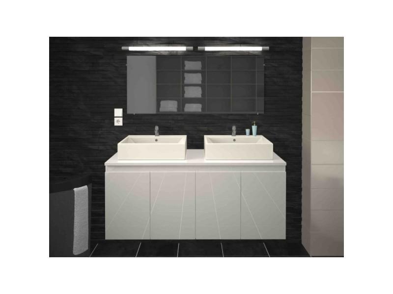 Meuble de salle de bain double vasque 120 cm blanc laqué ...