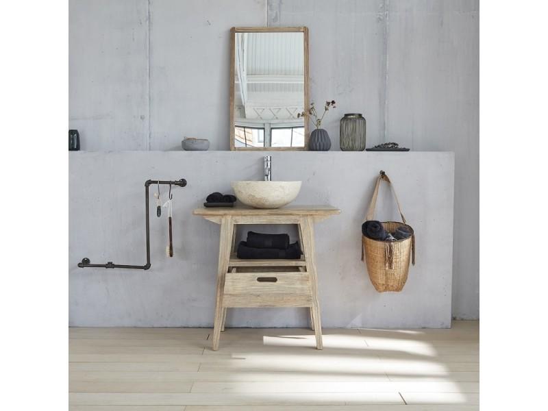 Ensemble salle de bain en bois d\'hévéa 80, vasque et miroir - Vente ...