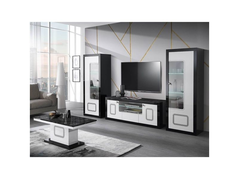 Robbie - ensemble salon complet laqué noir et blanc